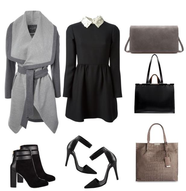 Jacket Jane Norman | Dress Valentino | Booties Coye Nokes Anisa Bootie | Heels Pieces | Grey Clutch Zara | Black Bag Zara | Large Croc Print Bag Karen Millen